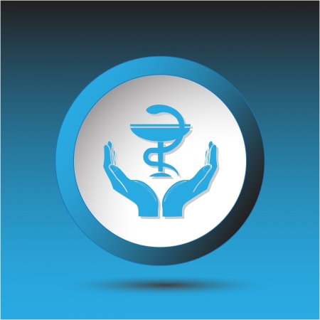 health in hands. Plastic button. Vector illustration. Stock Illustration - 17216262