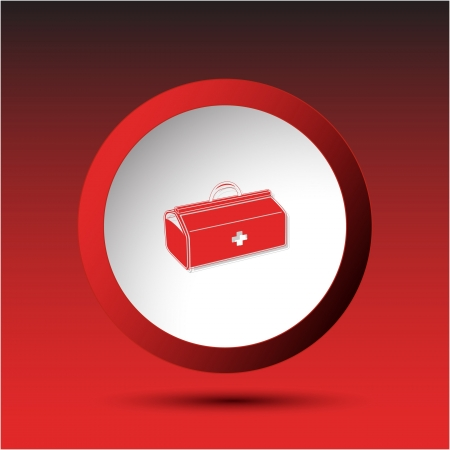 incurved: Medical suitcase. Plastic button. Vector illustration.