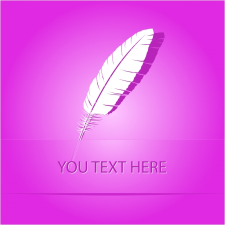 Feather. Paper sticker as bookmark. Vector illustration.  illustration