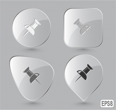 Push pin. Glass buttons.  illustration. illustration