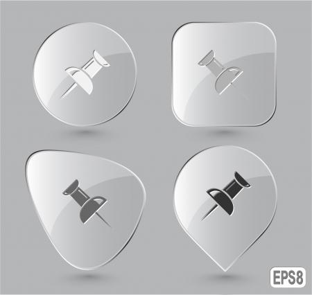 Push pin. Glass buttons.  illustration. Stock Illustration - 17240218
