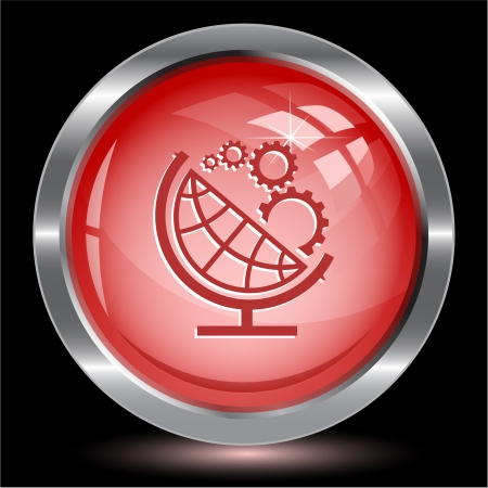 Globe and gears. Internet button.  illustration. Stock Illustration - 17240334