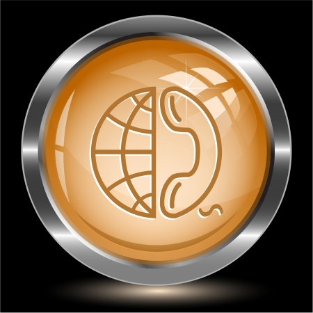 Globe and phone. Internet button.  illustration. Stock Illustration - 17240326