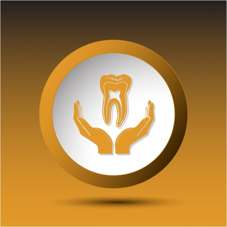 health in hands. Plastic button. Vector illustration. illustration