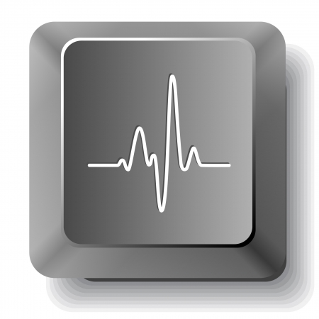 listening to heartbeat: Cardiogram.  computer key. Stock Photo