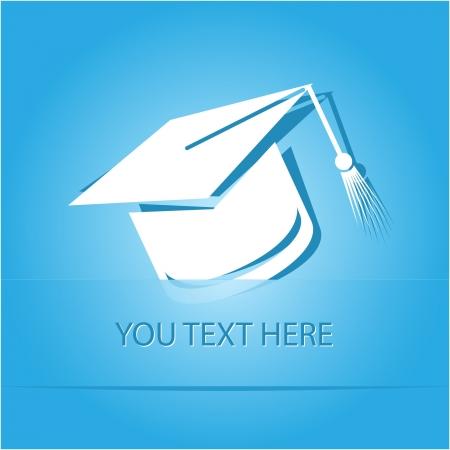 graduation cap: Graduation cap. Paper sticker as bookmark.  illustration.
