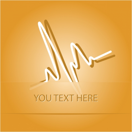 oscillate: Cardiogram. Paper sticker as bookmark.  illustration.    Stock Photo