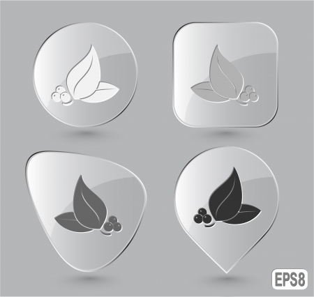 Leaf. Glass buttons.  illustration. illustration