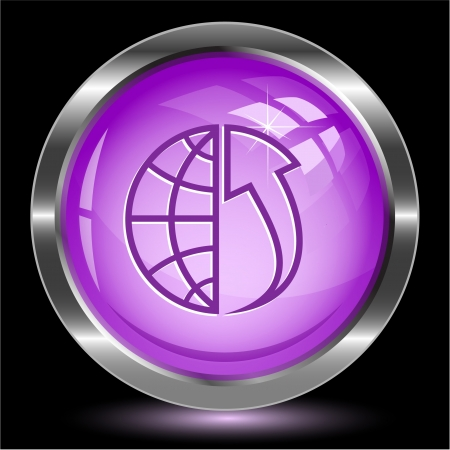 array: Globe and array up. Internet button.  illustration. Stock Photo