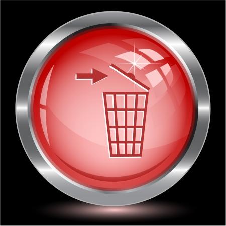 Recycling bin. Internet button.  illustration. Stock Illustration - 17335793