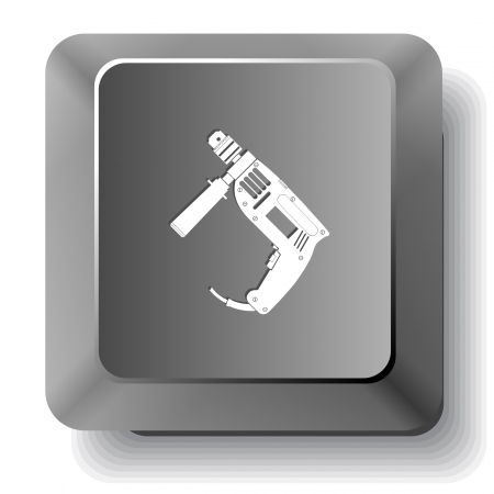 Electric drill.  computer key. Stock Photo - 17335678