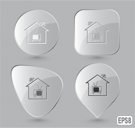 Home TV. Glass buttons. Vector illustration. illustration