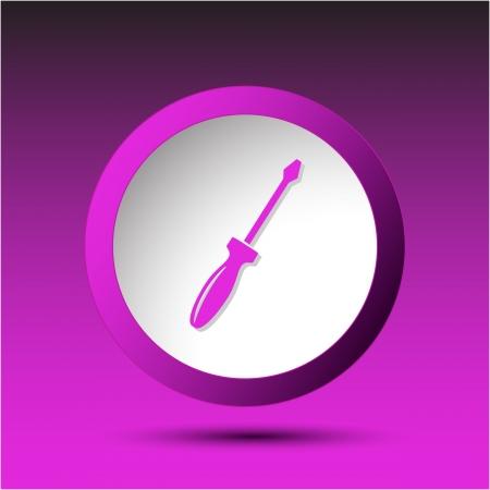 incurved: Screwdriver. Plastic button. Vector illustration. Stock Photo