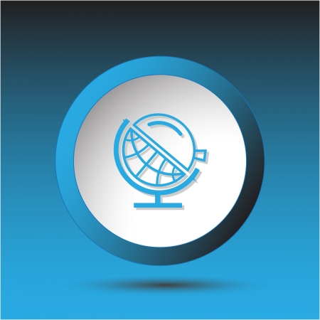 Globe and loupe. Plastic button. Vector illustration. illustration
