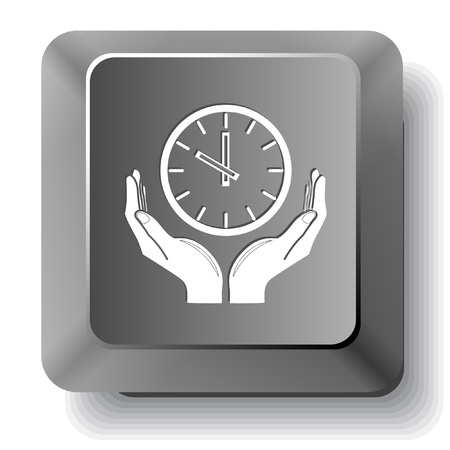 clock in hands. Vector computer key. photo