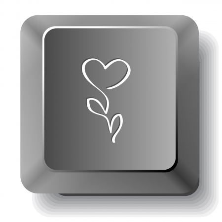 Flower-heart. Vector computer key. photo