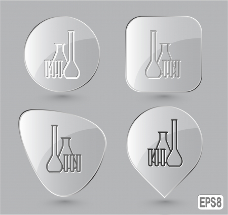 Chemical test tubes. Glass buttons. Vector illustration. illustration