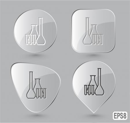 Chemical test tubes. Glass buttons. Vector illustration. Stock Illustration - 17388717