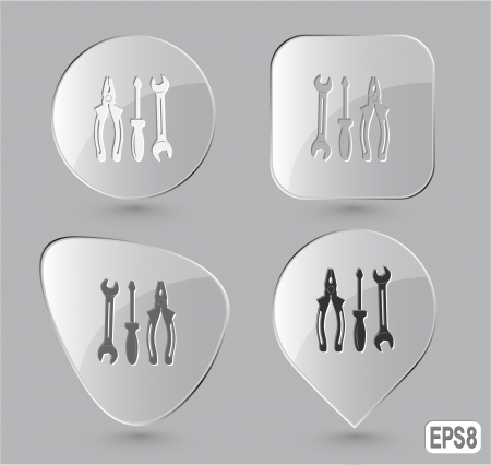 Tools. Glass buttons. Vector illustration. illustration