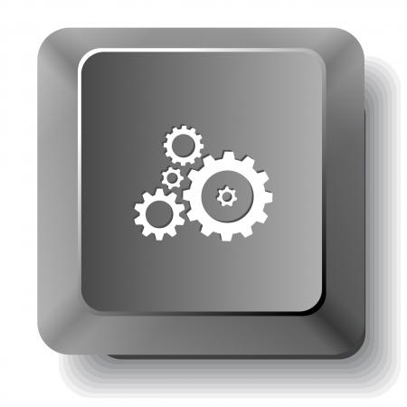 Gears. Vector computer key. photo