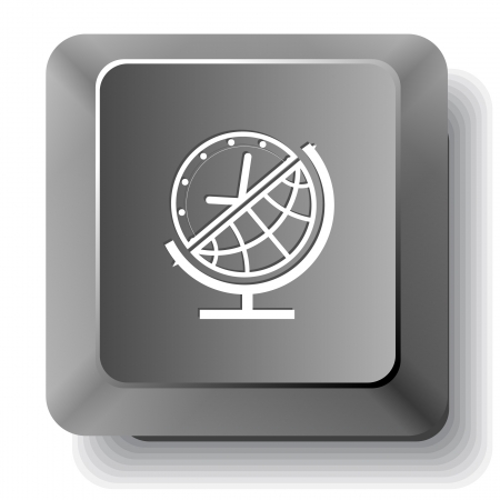 Globe and clock. Vector computer key. photo