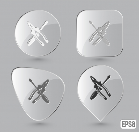 pinchers: Screwdriver and combination pliers. Glass buttons. Vector illustration.