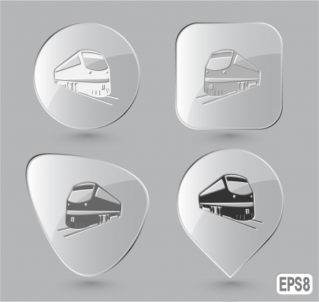 Train. Glass buttons. Vector illustration. illustration