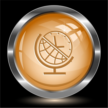 Globe and clock. Internet button. Vector illustration. illustration