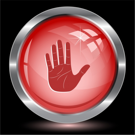 Stop hand. Internet button. Vector illustration. illustration