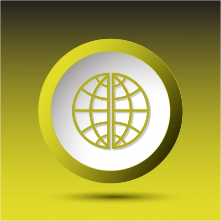 Globe. Plastic button. Vector illustration. illustration