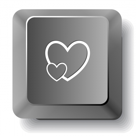 careful: Careful heart. Vector computer key.