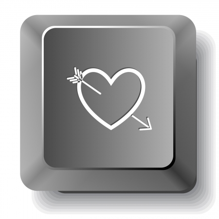 Heart and arrow. Vector computer key. photo
