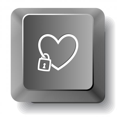 Closed heart. Vector computer key. Stock Photo - 17443178