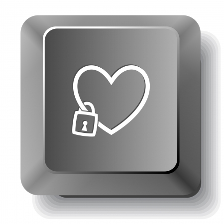 Closed heart. Vector computer key. photo