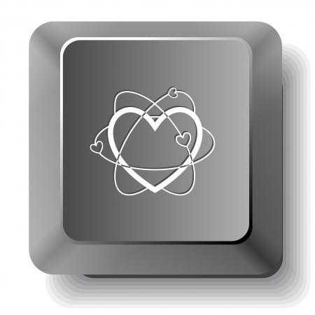 Coraz�n At�mica. Vector tecla de la computadora. photo