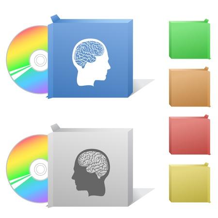 Human brain. Box with compact disc. Stock Photo - 17443402