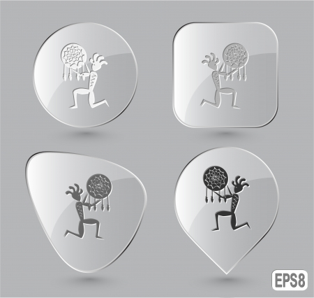 Ethnic little man as shaman. Glass buttons. Vector illustration. illustration
