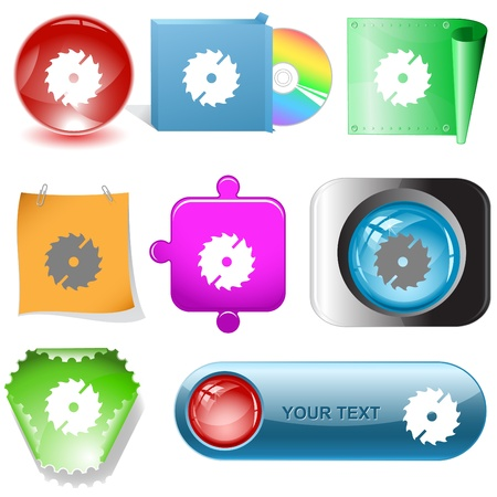 circ saw: Circ saw. Vector internet buttons. Stock Photo