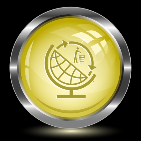 Globe and recycling symbol. Internet button.  illustration. Stock Illustration - 17511773