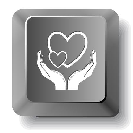 love in hands.  computer key. Stock Photo - 17511692