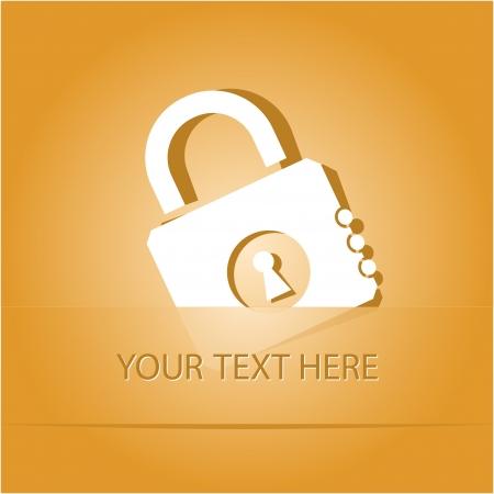Closed lock. Paper sticker as bookmark. Vector illustration. Eps10. Stock Illustration - 17511728
