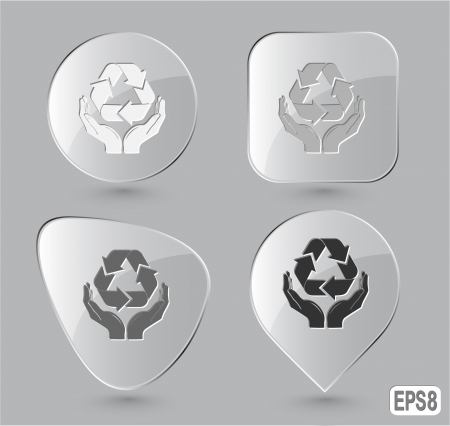 Protection nature. Glass buttons. Vector illustration. Stock Illustration - 17619605