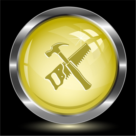 Hand saw and hammer. Internet button. Vector illustration. illustration