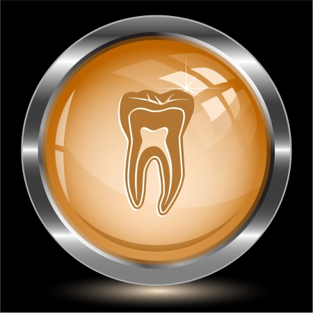 Tooth. Internet button. Vector illustration. illustration
