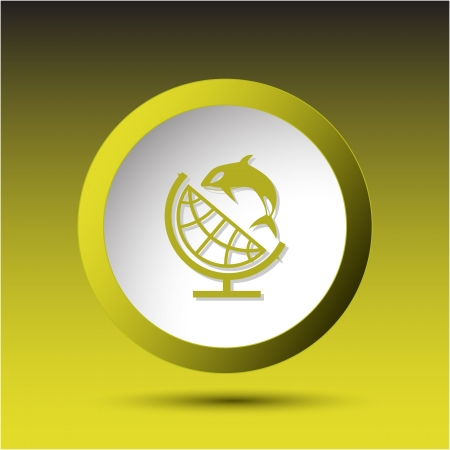 incurved: Globe and shamoo. Plastic button. Vector illustration.