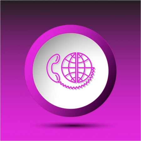 incurved: Global communication. Plastic button. Vector illustration. Stock Photo