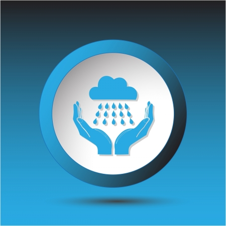weather in hands. Plastic button. Vector illustration. illustration