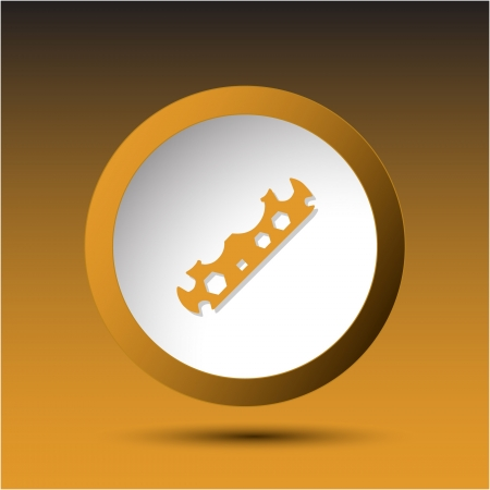 Cycle spanner. Plastic button. Vector illustration. illustration