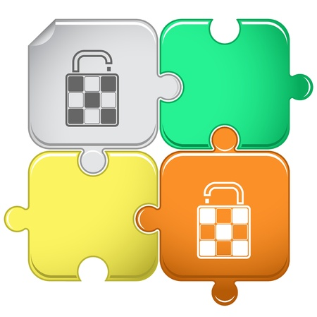 luggage pieces: Bag. Vector puzzle. Stock Photo