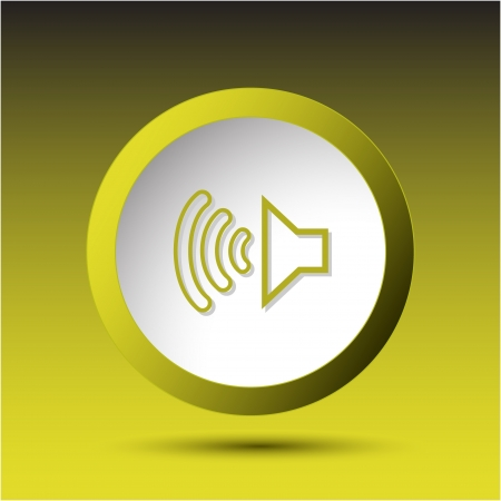 Loudspeaker. Plastic button. Vector illustration. illustration